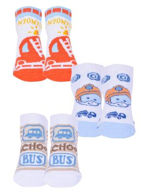Носки, 3 пары Malerba. Цвет: бежевый, белый, оранжевый