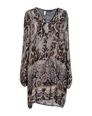 Короткое платье TOLANI. Цвет: коричневый