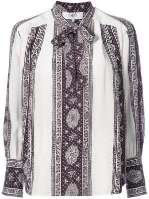 Рубашка с полосками и завязками на шее Sea. Цвет: белый