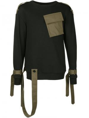 Толстовка с поясом и контрастным карманом Consistence. Цвет: чёрный