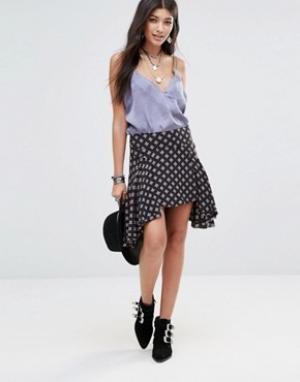 Free People Асимметричная юбка. Цвет: черный