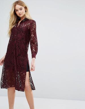 Closet London Кружевное платье-рубашка с длинными рукавами. Цвет: красный
