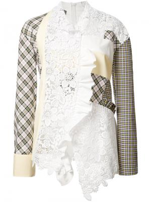 Лоскутная блузка Les Animaux. Цвет: белый