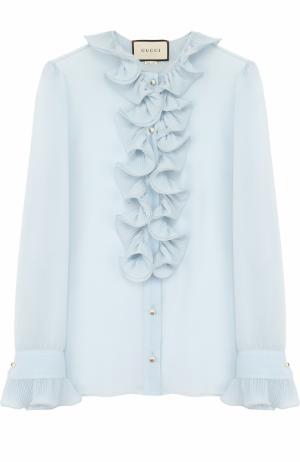 Шелковая прозрачная блуза с оборками Gucci. Цвет: голубой