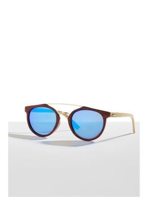 Бамбуковые очки Танзания Nothing but Love. Цвет: терракотовый, голубой, светло-желтый