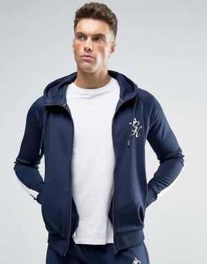 Gym King Обтягивающая темно-синяя спортивная куртка с капюшоном. Цвет: темно-синий