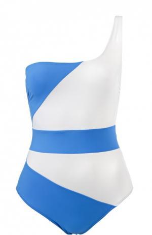 Слитный купальник с асимметричным верхом NATAYAKIM. Цвет: синий