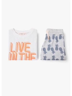 Пижамный комплект - OCEAN Mango kids. Цвет: светло-серый