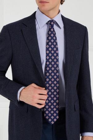 Синий шелковый галстук Canali. Цвет: синий