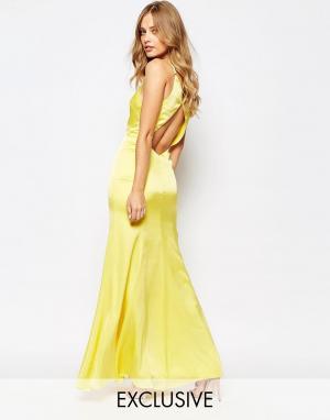 Fame and Partners Платье макси с годе и вырезом капелькой сзади Nevada. Цвет: желтый