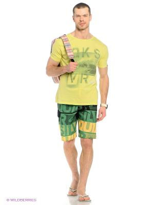 Бордшорты COMP WORD STRIPE UEA21 Quiksilver. Цвет: зеленый, желтый