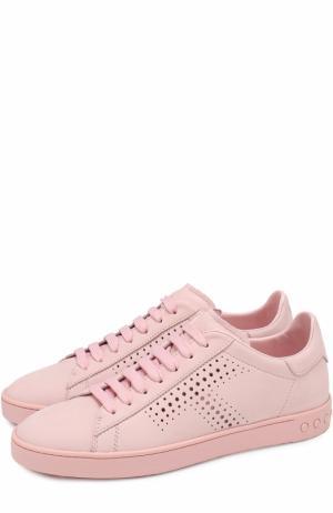 Кожаные кеды с перфорацией Tod's. Цвет: розовый