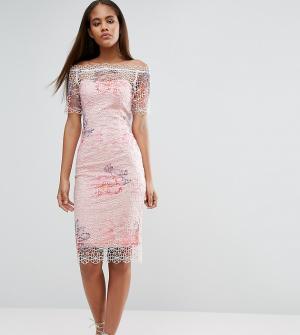 Paper Dolls Tall Кружевное платье-футляр с широким вырезом и цветочным принтом Do. Цвет: мульти