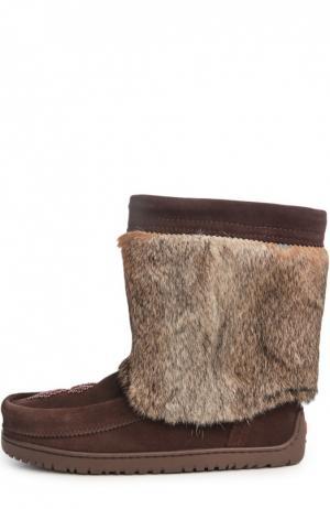 Унты Half Mukluk с вышивкой бисером Mukluks. Цвет: коричневый