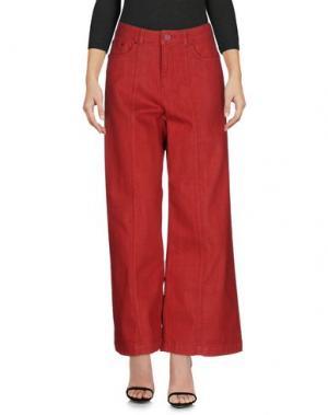 Джинсовые брюки SALONI. Цвет: кирпично-красный
