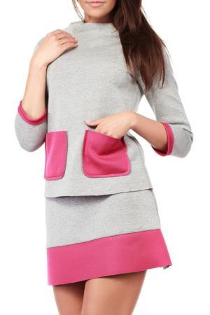 Блуза Moe. Цвет: pink and grey