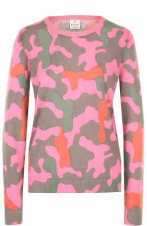 Пуловер прямого кроя с принтом FTC. Цвет: розовый