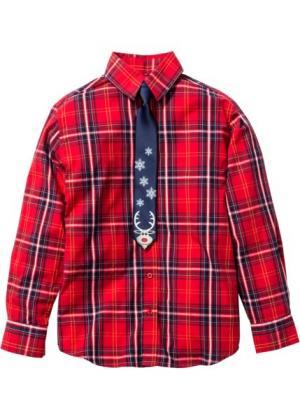 Рубашка с галстуком (2 изд.) (красный/зеленый) bonprix. Цвет: красный/зеленый
