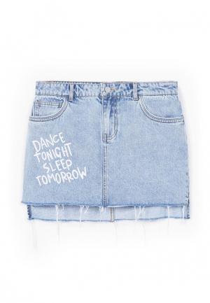 Юбка джинсовая Mango. Цвет: голубой
