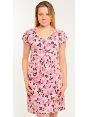 Платье-сорочка на пуговицах Ням-Ням. Цвет: розовый