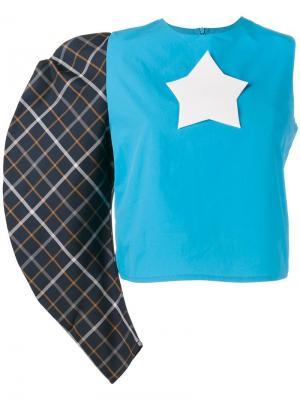 Топ с одним рукавом и звездой-логотипом A.W.A.K.E.. Цвет: синий