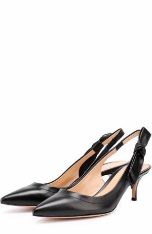 Кожаные туфли с бантом на ремешке Gianvito Rossi. Цвет: черный