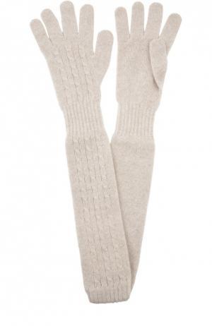 Удлиненные перчатки из кашемира Kashja` Cashmere. Цвет: светло-бежевый