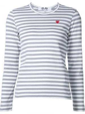 Полосатая рубашка Comme Des Garçons Play. Цвет: серый