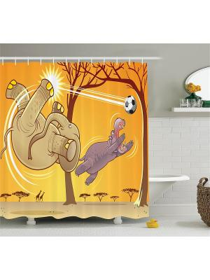 Фотоштора для ванной Волшебная птица, индеец с волками, тигр в воде, слон и бегемот, 180x200 см Magic Lady. Цвет: желтый, бежевый, коричневый, оранжевый, фиолетовый