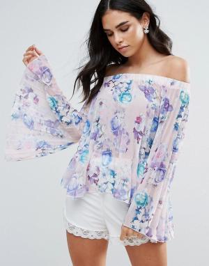 Jessica Wright Топ с открытыми плечами, расклешенными рукавами и цветочным принтом Je. Цвет: белый