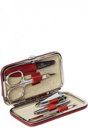 Светло-коричневый маникюрный набор из 5-предметов в кожаном чехле Truefitt&Hill. Цвет: бесцветный