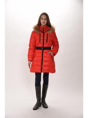 Пальто для девочек TOPKLAER. Цвет: красный