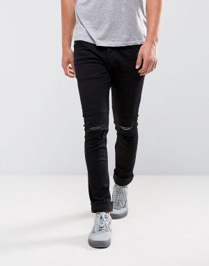 Loyalty & Faith Черные джинсы скинни с рваными коленями and. Цвет: черный