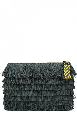 Клатч из рафии на молнии Sans-Arcidet. Цвет: темно-зеленый