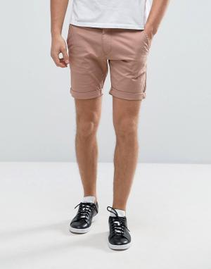 Selected Homme Эластичные шорты чиносы слим. Цвет: розовый