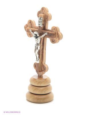 Крест с распятием на подставке Bethlehem Star. Цвет: светло-коричневый
