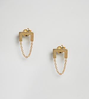 ASOS Позолоченные серебряные серьги-подвески с цепочками. Цвет: золотой