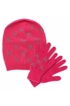 Комплект: шапка, перчатки Blugirl. Цвет: малиновый