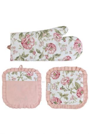Набор: 2 прихватки и рукавицы FRESCA DESIGN. Цвет: розовый