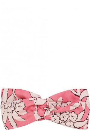 Шелковая повязка на голову с принтом Valentino. Цвет: фуксия