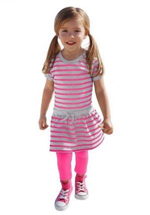 Набор: Платье + Леггинсы CFL. Цвет: розовый + серый