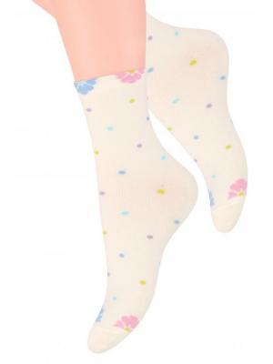 Комплект женских носков Steven, 38-40, молочный, фиолетовый Steven. Цвет: молочный, фиолетовый