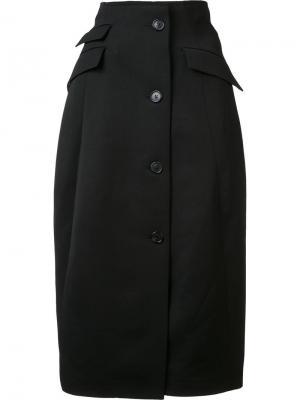 Длинная юбка с карманами клапанами Yang Li. Цвет: чёрный
