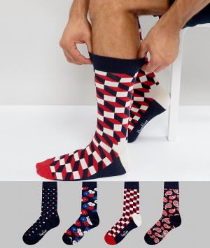 Happy Socks Подарочный набор из 4 пар носков. Цвет: мульти