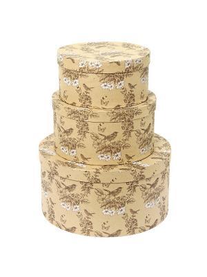 Коробка крафт, набор из 3шт. 20х20х10- 30х30х15 см. Гимн весне. VELD-CO. Цвет: светло-коричневый, золотистый