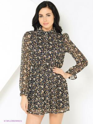 Платье в мелкий цветок темно-синее MONOROOM