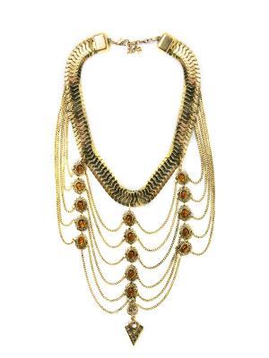 Колье из бронзы Бохо BH0024 Indira. Цвет: бронзовый