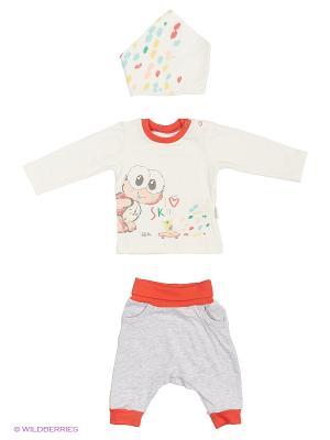 Костюм для малышей WO&GO. Цвет: молочный, коралловый, серый меланж