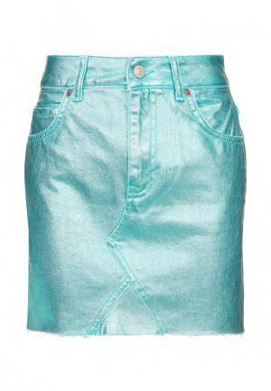 Юбка джинсовая Topshop. Цвет: бирюзовый