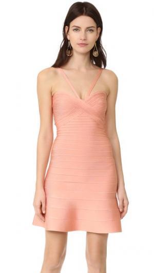 Платье без рукавов Herve Leger. Цвет: розовый
